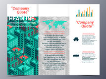 Abstract city building geometric pattern brochure design templat Royalty Free Stock Images