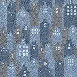 Abstract city buildings - seamless background, blue jeans texture Stock Photos