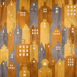 Abstract city buildings - seamless background - wood texture Stock Image