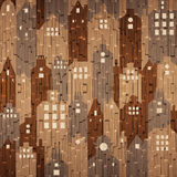 Abstract city buildings - seamless background - wooden texture Royalty Free Stock Photography