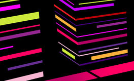 Abstract city with colored stripes. Vector stock illustration