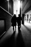 Abstract city couple. A couple is walking through the city Stock Photography