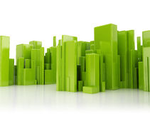 Abstract city 3d cubes. Abstract city green 3d cubes on white background Stock Photos