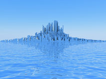 Abstract City. 3D image of abstract city on water Stock Image
