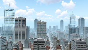 Abstract city downtown at daytime. Abstract big city downtown with modern high rise buildings skyscrapers and busy streets at daytime. 3D illustration from my Stock Photos