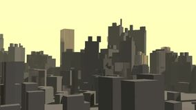 Abstract city downtown, shiny gold skyscraper at sunset stock footage