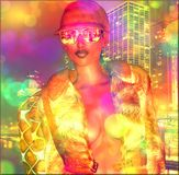 Abstract, city girl in bokeh background. A bokeh effect adds a party atmosphere to this city girl in a fashion outfit of sunglasses, hat, fur coat and makeup Royalty Free Stock Images