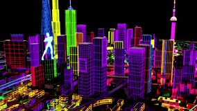 Abstract City Grid. Aerial view of a Dystopian Shanghai city in the future with projection mapping on buildings with