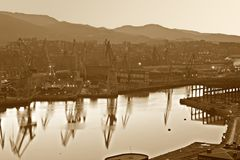 Abstract city Industry. Image of the heavy industry by the sea Royalty Free Stock Photography