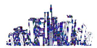 Abstract city. Isolated on white background. Vector illustration. Halftone pixel style royalty free illustration
