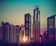 Abstract city landscape sunset sky. Stock Images