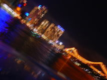 Abstract of City Lights. An abstract of city lights and a bridge Stock Image