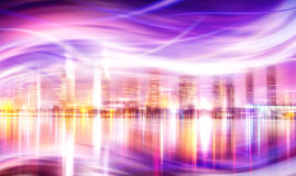 Abstract city lights background. Warm colors and positive vibes vector illustration