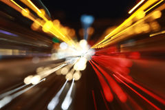 Abstract city lights. City lights defocused, abstract night scene of road with lights trails Stock Images