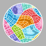 Abstract city map background. Color plan of town districts Stock Image