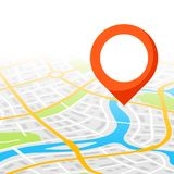 Abstract city map background with marker. Illustration of streets, roads and buildings Royalty Free Stock Photography