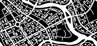 Abstract city map banner. Black and white illustration of streets, roads and buildings Stock Photo