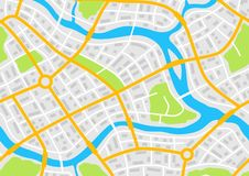 Abstract city map banner. Illustration of streets, roads and buildings Royalty Free Stock Photos