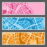 Abstract city map banners. Illustration of streets, roads and buildings Royalty Free Stock Photo