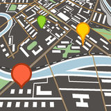 Abstract city map with color pins Royalty Free Stock Images
