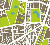 Abstract city map vector illustration. Abstract vector city map with white streets, dark brown buildings, green park and blue ponds. Simply draft town plan royalty free illustration