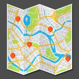 Abstract city map with markers. Illustration of streets, roads and buildings Stock Image