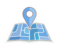 Abstract city map with pointer. Geo pin symbol. Icons of map and pin. Vector illustration for address contact web page or navigation route Stock Photography