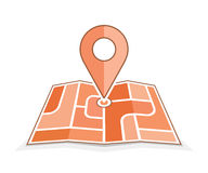 Abstract city map with pointer. Vector icon for address and contact web page. Geo pin icon Stock Photography