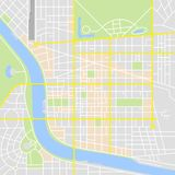 Abstract City Map. With rivers and parks with classic map application colors range vector illustration