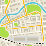 Abstract city map with roads houses parks and a river. Town streets on the plan. Top view. vector illustration