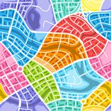 Abstract city map seamless pattern. Color plan of town districts Royalty Free Stock Photos