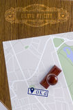 Abstract city map with a stamp approved Royalty Free Stock Photo