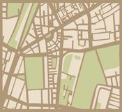 Abstract vector city map with streets, buildings a. Abstract vector city map with brown streets, beige buildings and green park. Simply hand made draft town plan stock illustration