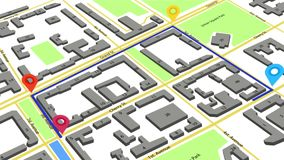 3d animation of a route with colored markers on an abstract city map.