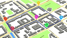 3d illustration of a route with colored markers on an abstract city map. Royalty Free Stock Photography