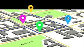 3d illustration of a route with colored markers on an abstract city map. Stock Images