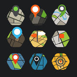 Abstract city map with symbols collection Stock Images