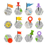 Abstract city map with symbols collection Stock Photos