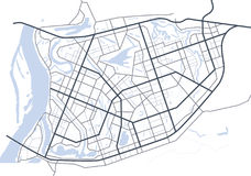 Abstract city map - town streets on the plan. Map of the fictitious scheme of road. vector background. Stock Images