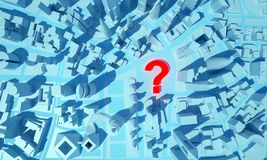 Abstract city with a question mark on top view. 3d rendering stock illustration