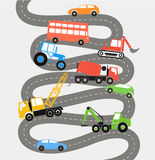 Abstract city road with different transport. Illustration Stock Photography