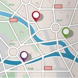 Abstract City road map with GPS Icons. Stock Photography