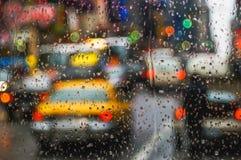 Abstract City Scene. New York seen through windshield on raining day Stock Photography