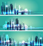 Abstract city scene on night time, cityscape vector design Royalty Free Stock Image