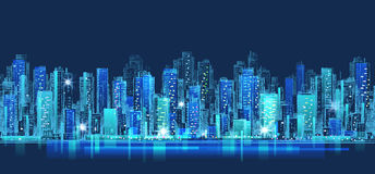 Abstract city scene on night time, cityscape vector design Royalty Free Stock Photography