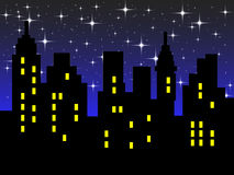 Abstract city silhouette. Against night sky background Royalty Free Stock Images