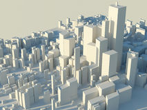 Abstract city skyline. Abstract, three-dimensional city skyline with skyscrapers and tall buildings Stock Photos