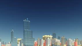 Abstract city skyline against clear blue sky Stock Photos
