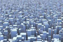Abstract City Skyline 3D Simple Blocks Buildings. Abstract and generic 3d simple city blocks buildings skyscrapers skyline landscape Royalty Free Stock Image