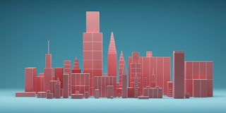 Abstract city with skyscrapers background, futuristic city panorama. 3d illustration. Pink and blue colors Stock Photo